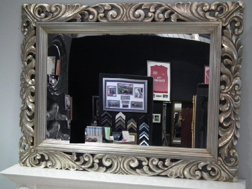 Large Silver Mirror Carved Solid Wood Frame Beautiful Antique Design Ornate 4FT