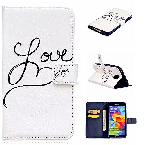 KSHOP pour Samsung Galaxy S5 Coque Case Cas de Shell PU Cuir Etui Cover Housse de Protection Sac Accessoire Wallet Portefeuille Supporter avec Carte