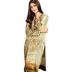 Rabea Unstitched Silk digital kurtis with lawn bottom