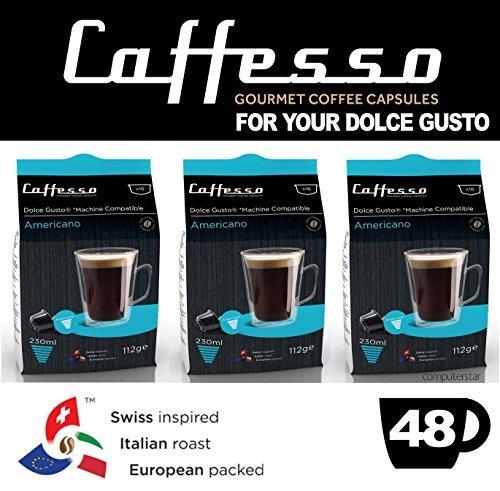 Choose Caffesso Americano Dolce Gusto Machine Compatible 48x Capsules Pods - Caffesso