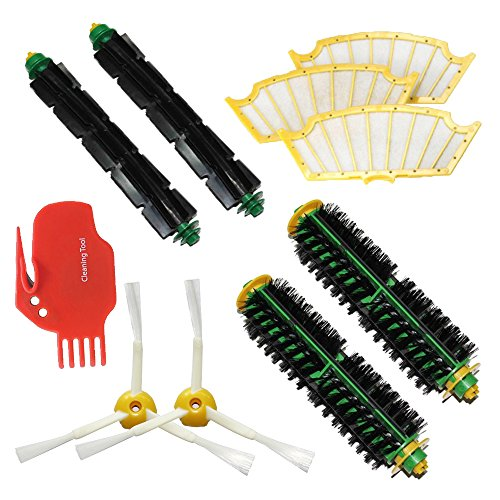 Shp-Zone Bristle Brush & Flexible Beater Brush & Side Brush 3 Armed & Filters & Cleaning Tool Pack Mega Kit For Irobot Roomba 500 Series Roomba 510, 530, 535, 540, 560, 570, 580, 610 Vacuum Cleaning Robots All Green, Red, Black Cleaning Head front-571737