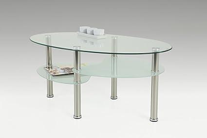 Dreams4Home Couchtisch 'Anne' - Wohnzimmertisch, Beistelltisch, B/H/T ca. 90 x 40 x 55 cm, Sofatisch, Couchtisch, Tisch, Glasplatte 6 mm ESG, Wohnzimmer, in Milchglas&Klarglasoptik ESG