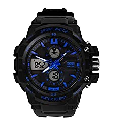 Skmei Blue number display Sports Analogue digital dual time zone Mens watch - GM099BLU