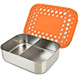 LunchBots Duo Stainless Steel 2 Section Snack Container, Stainless Steel Lid, Orange Dots Cover, Dishwasher Safe