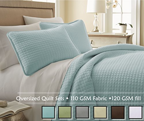 Southshore Fine Linens® 3 Piece Oversized Quilt Set - Sky Blue KING / CALIFORNIA KING (Blue Quilt California King compare prices)