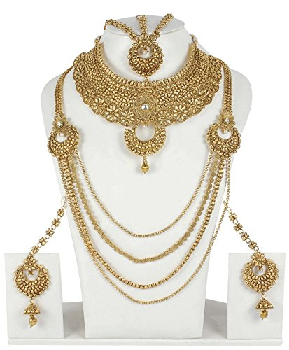 Traditional Bollywood Inspired Gold Plated Polki Bridal Necklace Set