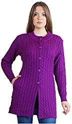 Montrex Women's Plain Coats (Montrex-6412Purple, Purple, XXL)