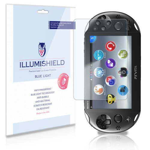 Illumishield - Sony Playstation Vita Pch-2000 (Hd) Blue Light Uv Filter Screen Protector Premium High Definition Clear Film / Reduces Eye Fatigue And Eye Strain - Anti- Fingerprint / Anti-Bubble / Anti-Bacterial Shield - Comes With Free Lifetime Replaceme