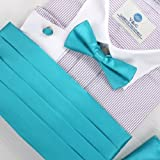 Dark Turquoise Formal Pre-tied Bow Tie Hanky and Cummerbund Cufflinks Set with Gift Box Cm1015  Turquoise