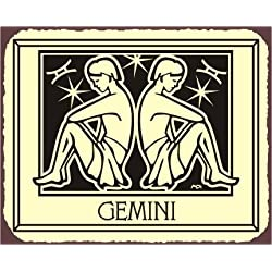 Gemini Zodiac Astrology Vintage Metal Art Retro Tin Sign