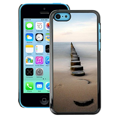 A-type Colorful Printed Hard Protective Back Case Cover Shell Skin for iPhone 5C (Sea Pier Dock Sand Ocean Horizon)