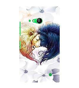EPICCASE Lions head-to-head Mobile Back Case Cover For Nokia Lumia 730 (Designer Case)
