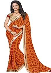 Ambica women faux grorgette digital print saree(Amb-4206_Orange_Freesize)