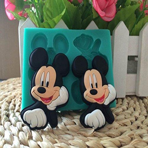 """Moule en Silicone 3D """"Mickey Mouse"""" Double Cavité, moule à Décoration Fondant, moule de sucre silicone pour faire des décorations de gâteau fondant, sculptures de glace, la pâte de gomme, caramels, nougat, gelée de fruits, sucre cuit et chocolat 3D"""