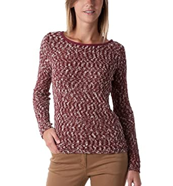 Promod Damen-Pullover aus Bouclé Bordeauxrot bedruckt 40