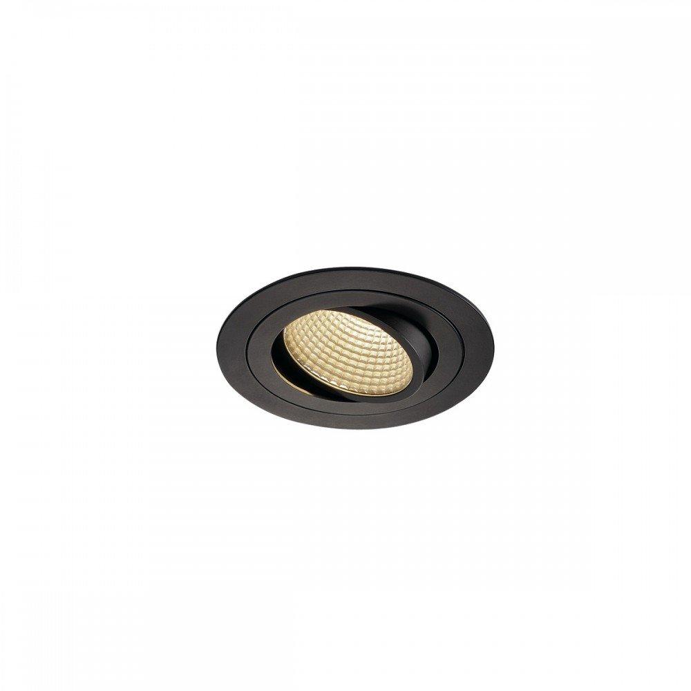 SLV LED Deckeneinbaustrahler New Tria DL Set, rund, 13W, COB, 3000K, 38 Grad, inklusiv Treiber, Clipfedern, schwarz 114230