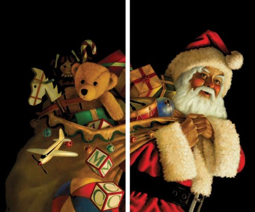 WOWindow Posters Santa with Toy Sack Christmas Window Decoration, Includes Two 3 by 5-Inch Posters