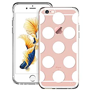 iPhone 6s, iPhone 6s Case, iPhone 6s Case clear, iPhone 6 Case Hybrid [One Piece], ESR Soft Silicone Bumper+ Hard Plastic Back Cover [Slim Fit ] Case for 4.7 inches iPhone 6s / 6 (Polka Dots)