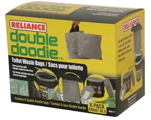 Reliance Double Doodie Toilet Waste Bags-No Gel (Black,