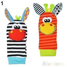 2pcs Lovely Infant Baby Kids Foot Socks Rattles finders Glove Toys Developmental