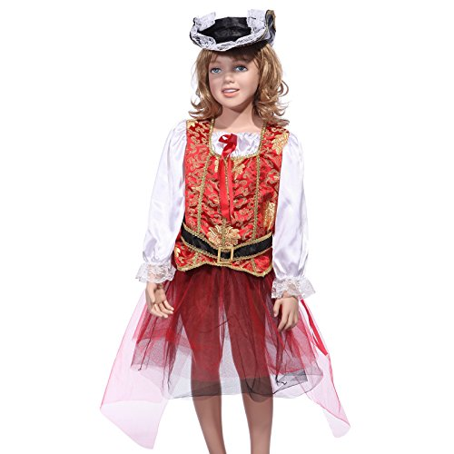 Girls Kids Buccaneer Caribbean Pirate Princess Book Week Tutu Skirt Fancy Dress