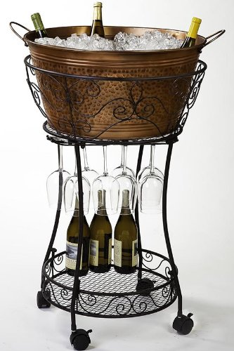 "Hammered Faux Copper Beverage Tub And Stand, 37.50""Hx25.75""Diameter, Copper front-454828"