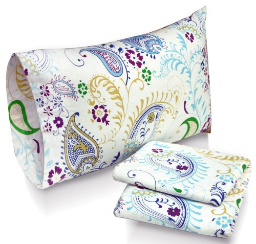 Tribeca Living Paisley Garden Printed Deep Pocket Flannel Sheet Set With Pillowcase, California King front-374482