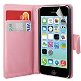 Baby Pink iPhone 5C Side Wallet Flip PU Leather Case Cover+Screen Film - PART OF JJONLINESTORE ACCESSORIES