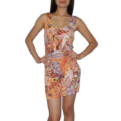 Women Thai Exotic Fashion Cute Stretchy Fitted Tunic Sleeveless Tank Dress - Size: S-M