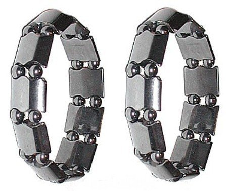 Set Of 2 Men's Hematite Metal Magnetic Therapy
