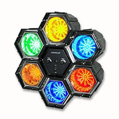 Kit DJ luci psichedeliche a 6 faretti 282 LED colorati con centralina party festa