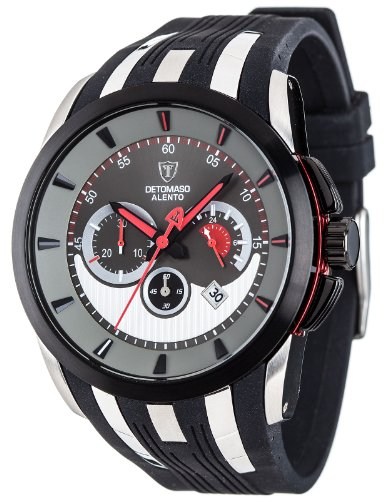 Detomaso Men's Quartz Watch ALENTO Grey/Black DT2036-A with Rubber Strap