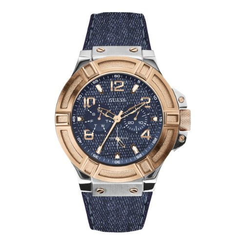 Guess Herren-Armbanduhr XL Mens Sport Analog Quarz Leder W0040G6