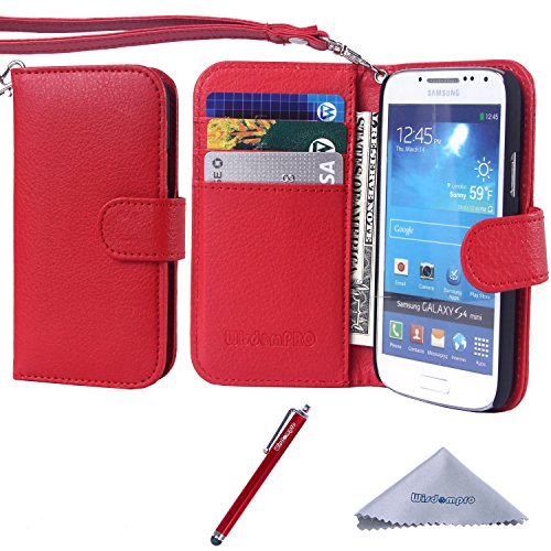 S4 Mini Case, Wisdompro Premium PU Leather 2-in-1 Protective [Folio Flip Wallet] Case with Credit Card Holder/Slots and Wrist Lanyard for Samsung Galaxy S4 Mini (NOT S4 FIT) - Red (Samsung S4 Mini Case Red compare prices)