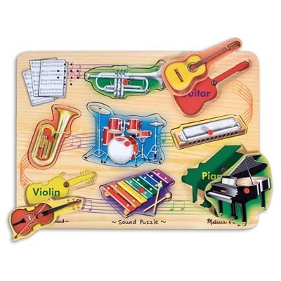 Melissa & Doug Deluxe Wooden Musical Instruments Sound Puzzle
