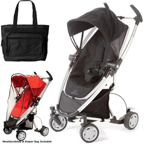 Quinny Zapp Xtra Stroller With Diaper Bag And Weathershield - Rocking Black front-822319