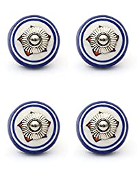 Knobs & Hooks FBK-205 Ceramic Cabinet Knob; White+Blue; (Set of 4 pieces)