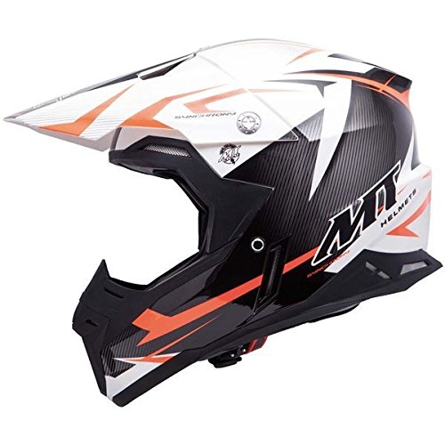 Casque moto cross MT SYNCHRONY STEEL - Noir / Blanc / Orange