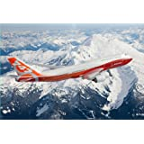 747-8 Intercontinental Sunrise Livery Over Mountain Matted Print