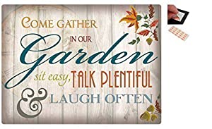 Bundle - 2 Items - Come Gather In Our Garden Metal Wall Art Sign - 30 x 41 cms (12 x 16 Inches) and a Set of 4 Repositionable Adhesive Pads For Easy Wall Fixing by iPosters