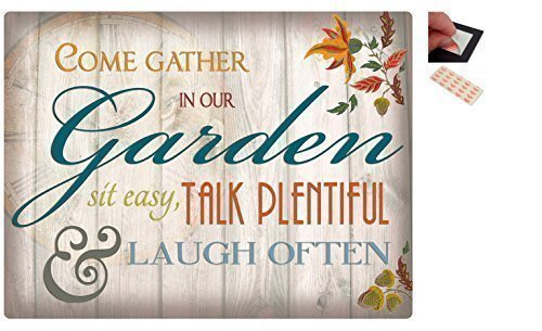 bundle-2-items-come-gather-in-our-garden-metal-wall-art-sign-30-x-41-cms-12-x-16-inches-and-a-set-of