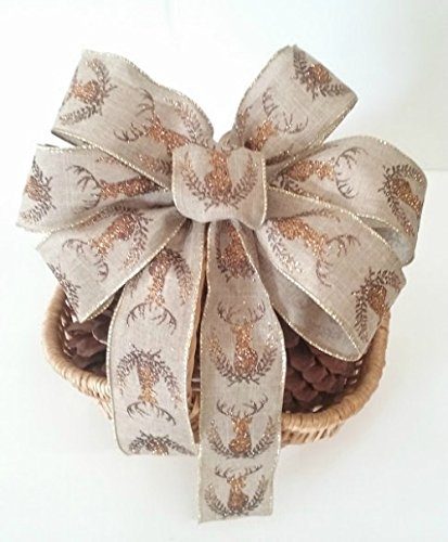 Gold Burlap Antler Harvest Wreath Bow ~ Harvest Centerpiece ~ Rustic Country Halloween Party Decorations ~Deer Antlers Wedding Pew Bow ~ Country Girl Party Decor (Candy Corn Vine compare prices)