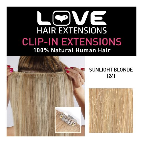 Love Hair Extensions 100% Human Hair Clip in Extensions Colour 24 Sunlight Blonde