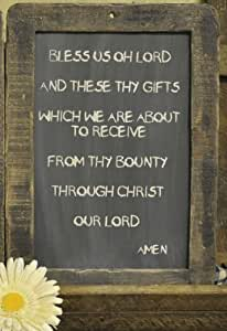 Framed prayer blackboard bless us oh lord 13 3 4 primitive country rustic grace Bless home furniture outlet