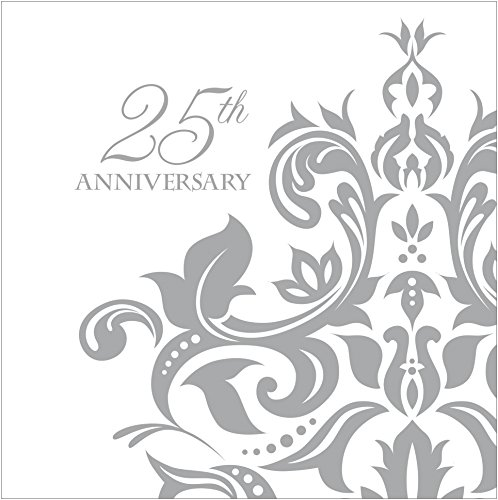Creative Converting 36 Count 3 Ply 25th Anniversary Beverage Napkins, Silver - 1