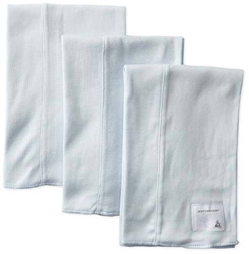 Burt's Bees Baby-Boys Organic Bee Essentials Set of 3 Solid Burp Cloths, Sky, One Size