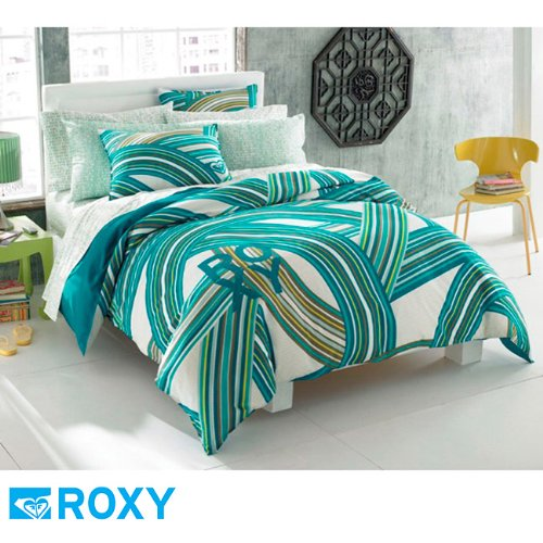 Roxy Teen Girls Teal Aqua Striped Swirls Comforter Set 200tc Sheet Set