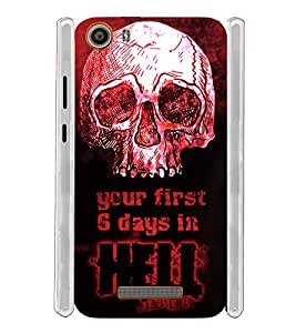 Skull Quote Hell Soft Silicon Rubberized Back Case Cover for Micromax Canvas Spark 2 Q334