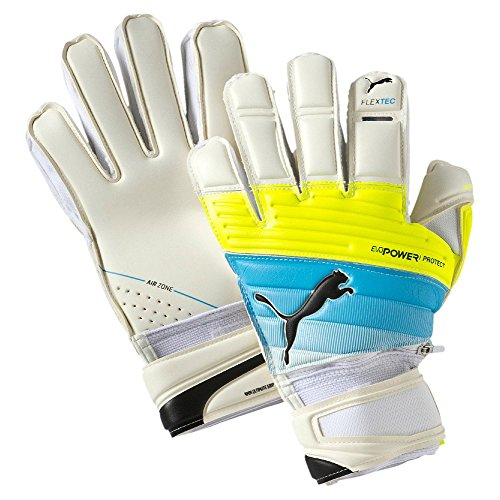 Guanti da portiere PUMA ultima Protect 1,3, White/Atomic Blue/safety Yellow, 9,5, 041216 01