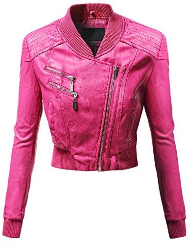 Varsity Letterman Neckline Crop Bike Rider Faux Leather Jackets Fuschia Size S